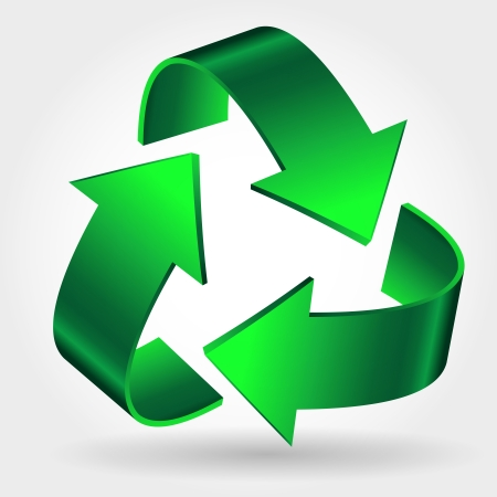 Recycle Symbol Icon, Green Arrows Sign Isolated On White