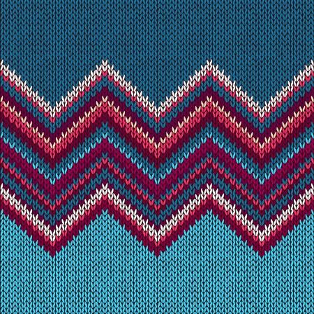 シームレスなファブリックのパターンを編み、美しい青赤、ピンクのニット テクスチャ  イラスト・ベクター素材