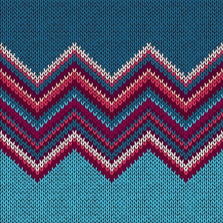 니트 원활한 직물 패턴, 아름다운 블루 레드 핑크 니트 질감