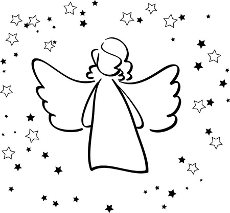 Angel and Stars Stock Vector - 24505116