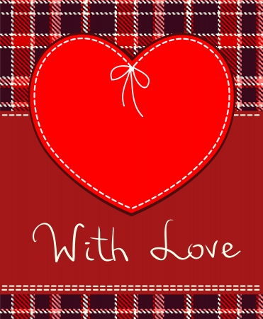 stitched: Heart in stitched textile style red heart textile label  Illustration