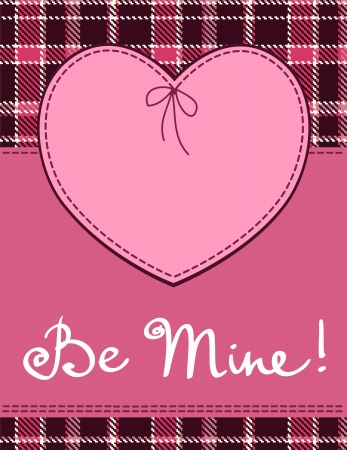 Heart in stitched textile style. Vector pink heart textile label with be mine hand lettering Vector