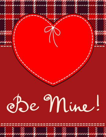 be mine: Heart in stitched textile style red heart textile label with be mine hand lettering