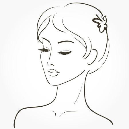attractive female: Beautiful young woman sketch