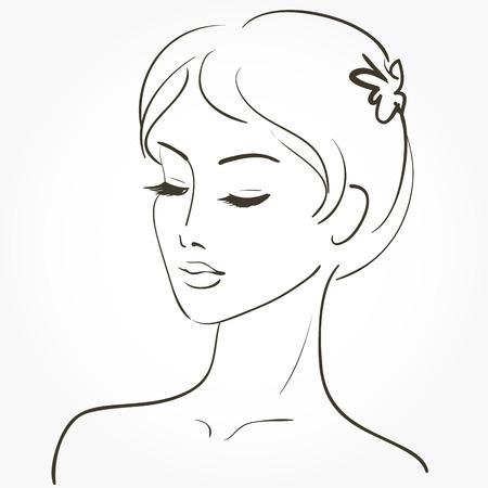 belle dame: Belle jeune femme esquisse Illustration