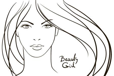 dessin au trait: Visage de jeune femme aux longs cheveux blonds