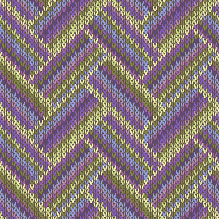 Multicolored Seamless Spring Knitted Pattern. Green Lilac Color Swatch Vector