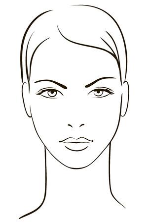 fiatal nők: Fiatal nő arca Illusztráció