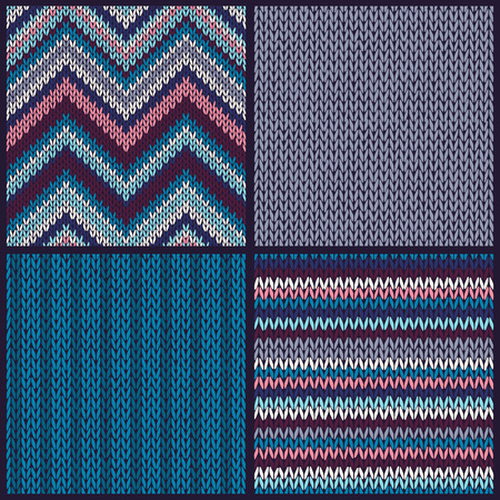 Seamless Knitted Pattern. Set. Collection of Blue Pink White Gray Color Marine Backgrounds  Vector