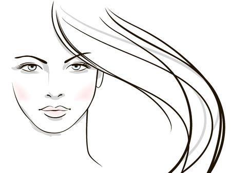 schönheit: Gesicht der jungen Frau mit langen blonden Haaren Illustration