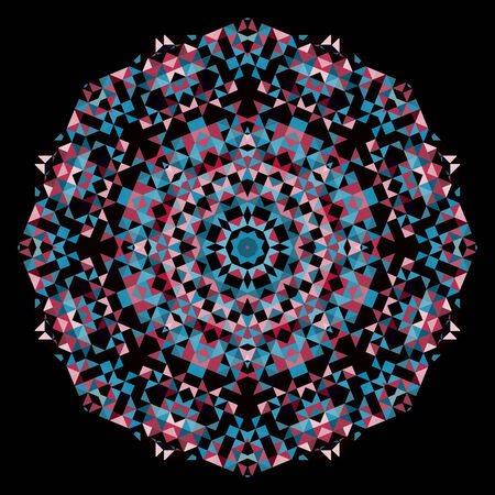 dominant: Abstract Flower. Creative Colorful style vector wheel. Red Pink Blue Black Dominant Color Illustration