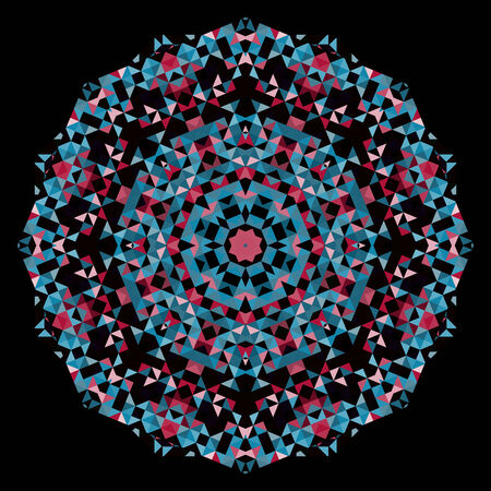 dominant color: Abstract Flower. Creative Colorful style vector wheel. Red Pink Blue Black Dominant Color Illustration