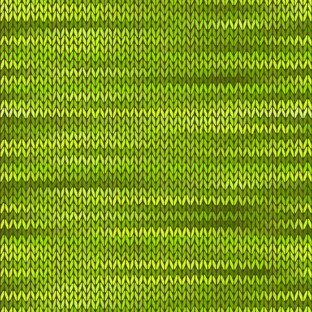 stockinet: Style Seamless Knitted Melange Pattern. Green Color Vector Illustration