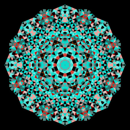 dominant color: Abstract geometrical Digital Flower. Creative Colorful style vector wheel. Red Emerald Green Black Dominant Color Backdrop