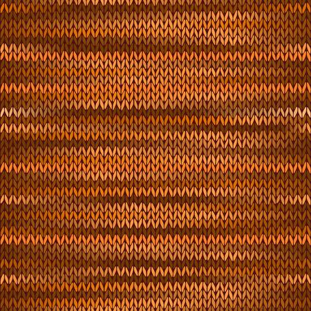 stockinet: Seamless Knitted Melange Pattern. Orange Brown Color Vector Illustration