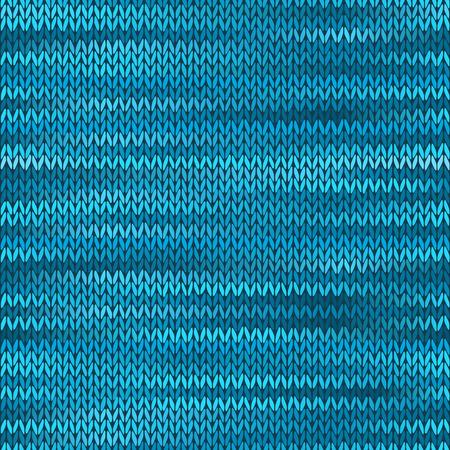 stockinet: Style Seamless Knitted Melange Pattern. Blue Turquoise Black White Color Vector Illustration