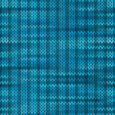 stockinet: Style Seamless Knitted Melange Pattern. Blue Turquoise Black White Color Vector Illustration