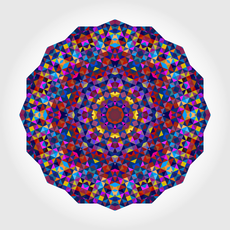 concentric: Abstract colorful circle backdrop. Geometric vector mandala. Mosaic banner of geometric shapes. Red Orange Purple Lilac Blue Violet Magenta Colour Round Shape on White Background Illustration