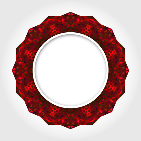 Abstract White Round Frame with Red Digital Border Vector