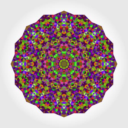 verde y morado: Extracto de la flor. Rueda del vector del estilo colorido de Creative. Tel�n de fondo c�rculo. Mosaico de la bandera de formas geom�tricas. Rojo Verde Violeta Lila Violeta Magenta Redonda Mandala Background