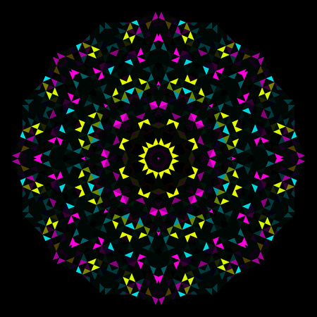 dominant: Abstract Flower. Creative Colorful style vector wheel. Cyan Emerald Magenta Yellow Black Dominant Color