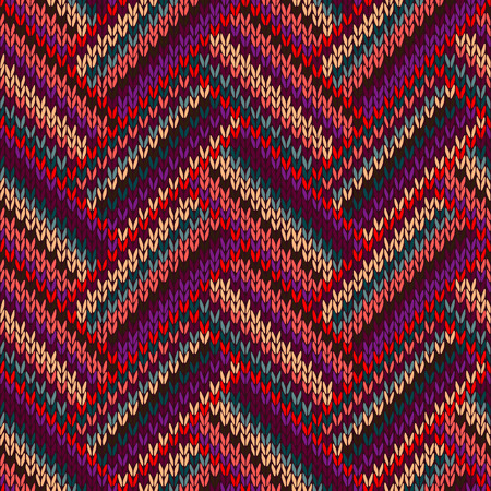 jacquard: Style Seamless Knitted Pattern. Complex Geometric Striped Red Blue Brown Violet Orange Yellow Color Swatch  Illustration