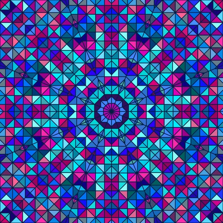 Abstract Colorful Digital Decorative Flower. Geometric Contrast Line Star and Blue Pink Cyan Color Artistic Backdrop Vector
