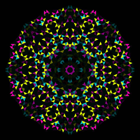 dominant color: Abstract Flower. Creative Colorful style vector wheel. Cyan Emerald Magenta Yellow Black Dominant Color
