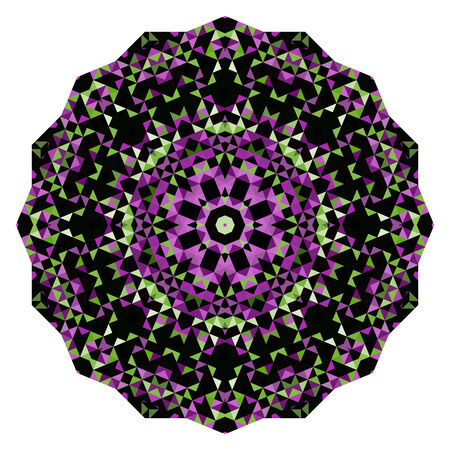 Abstract Flower. Creative Colorful style vector wheel. Lilac Violet Green Pink White Black Dominant Color Vector