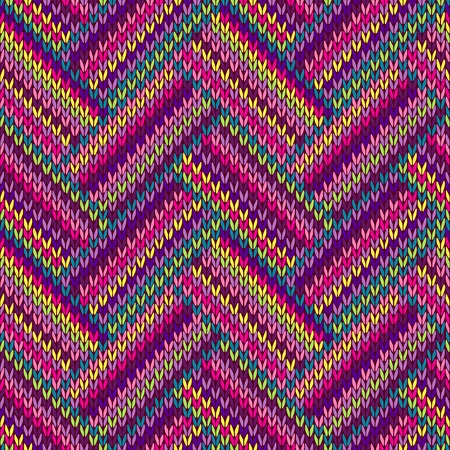 Knitted Seamless Red Blue Pink Yollow Violet Orange Gteen Ormamental Striped Pattern Vector