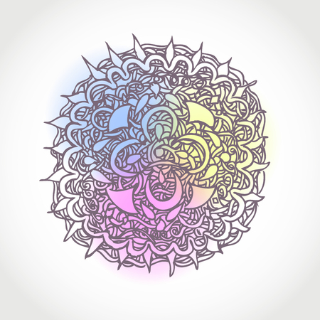 Decorative Hand Drawn Vector Circle Shape Design. Abstract Floral Pattern Background  Vector