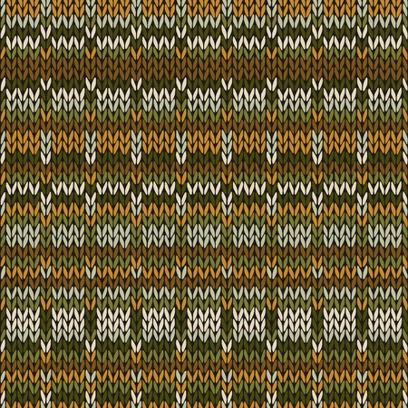 Knitted Seamless Autumn Orange Yellow Brown Green White Color Ornamental Geometrical Striped Pattern Vector