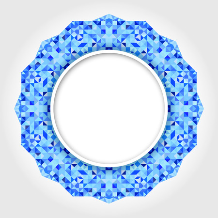 Abstract White Round Frame with Blue Digital Border Vector