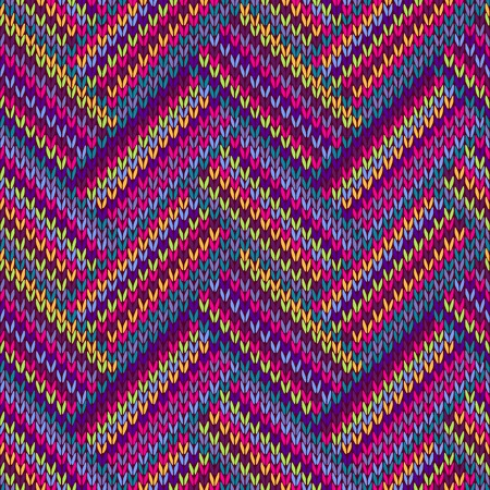 Knitted Seamless Color Ornamental Striped Pattern Vector