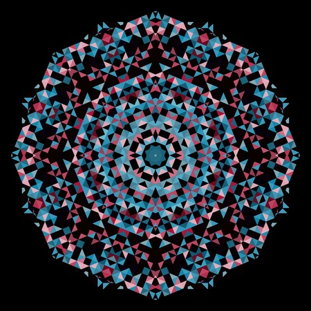 dominant color: Abstract Flower. Creative Colorful style wheel. Red Pink Blue Black Dominant Color Illustration
