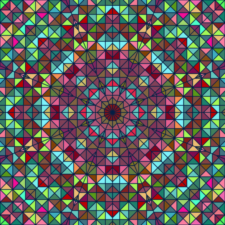 Abstract Colorful Digital Decorative Flower. Geometric Contrast Line Sta. Green Blue Pink Red Cyan Color Artistic Backdrop