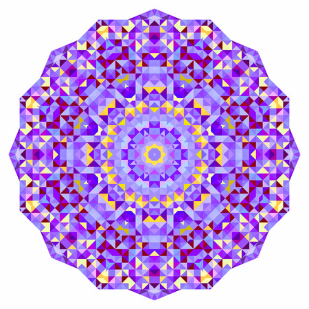 dominant color: Digital Mosaic Circle. Creative Colorful style vector wheel. Red Blue Lilac Orange Pink Violet White Dominant Color Illustration