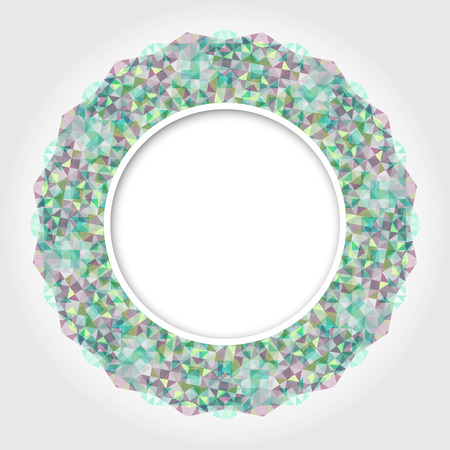 Abstract White Round Frame with Multicolor Emerald Digital Border Illustration