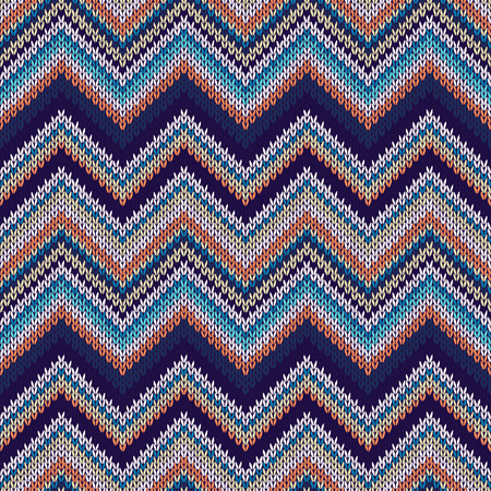 spokes: Seamless geometric spokes knitted pattern. Blue white orange beige color knitwear sample Illustration
