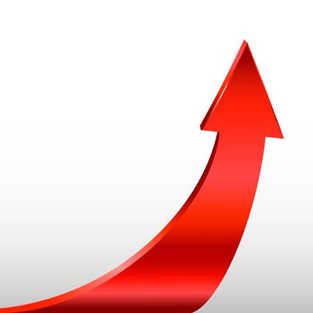 upward movements: Red arrow and white background Illustration