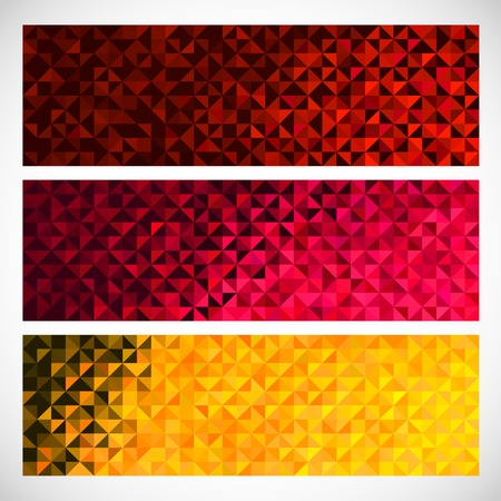 Colorful Pixel Background. Vector Set of Abstract Mosaic banners Vector