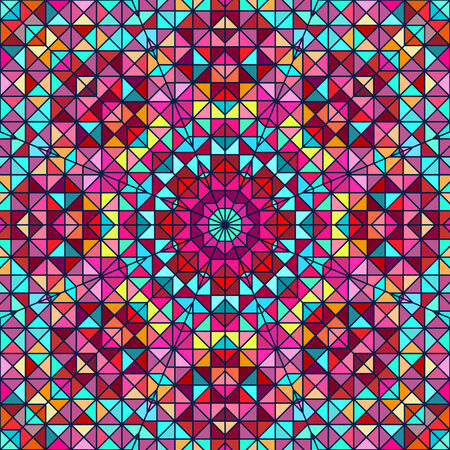 tapis: Abstract Colorful Digital Decorative Flower Star. Geometric Contrast Line Trendy Banner. Blue Pink Red Cyan Green Color Artistic Backdrop Illustration
