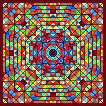 tapis: Abstract Colorful Digital Decorative Flower Star. Geometric Contrast Line Trendy Banner.  Illustration