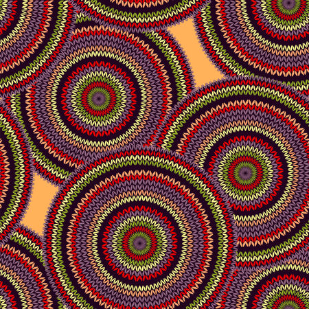 black and yellow: Abstract Seamless Ethnic Style Circle Simple Colorful Vector Needlework Background, Ornamental Red Green Violet Orange Black Yellow Round Geometric Knitted Pattern