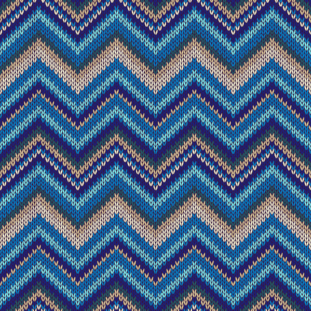 spokes: Seamless geometric ethnic spokes knitted pattern. Blue white beige color knitwear sample