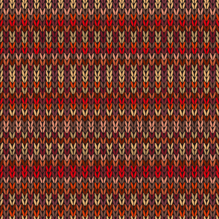fancywork: Seamless Ethnic Geometric Knitted Pattern. Style Red Pink Orange Yellow Background Illustration