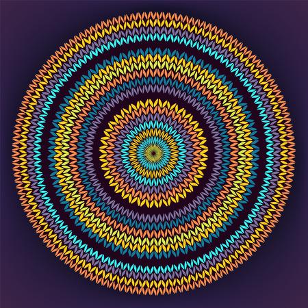 fancywork: Style Circle Simple Color Needlework Background, Ornamental Yellow Orange Blue Round Knitted Pattern Illustration