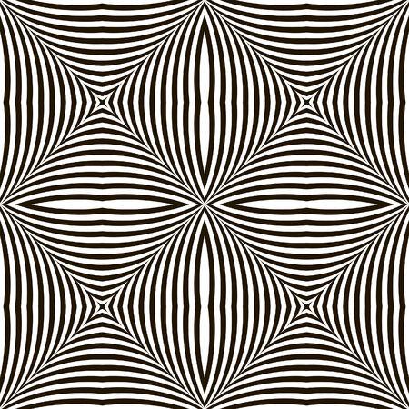 arte optico: Geométrico blanco y negro Vector Shimmering Optical Illusion. Efecto de parpadeo moderna. Op Art Design