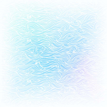 Seamless Abstract Vector Light Blue White Color Hand-drawn Pattern. Waves and Clouds Background. Frosted Window. Stylized Animal Fur Illustration