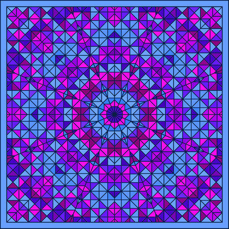 tapis: Abstract Colorful Digital Decorative Flower Star. Geometric Contrast Line Trendy Banner. Blue Pink Cyan Lilac Violet Color Artistic Square Tile Backdrop with Blue Border